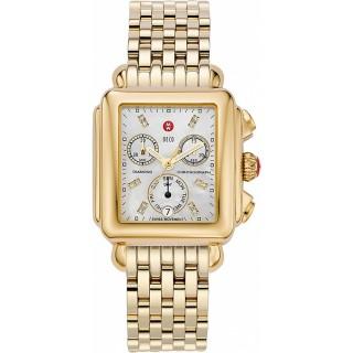 Signature Deco Diamond Dial Gold Watch